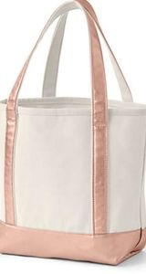Lands End Carry All Tote -Natural/Rose Gold